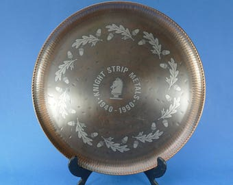 ARTS & CRAFTS - Copper and Pewter TRAY - Acorn and Oak Leaf design - Paul Gilling