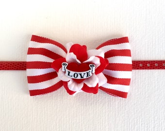 Mad About Love and Stripes Wristlet - Red - Rose - Rockabilly - Tattoo Heart - Retro - 1950s