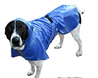 Dog Raincoat, Hooded Dog Raincoat, dog coat with tummy panel, unlined, lightweight dog raincoat, custom dog raincoat, dog jacket