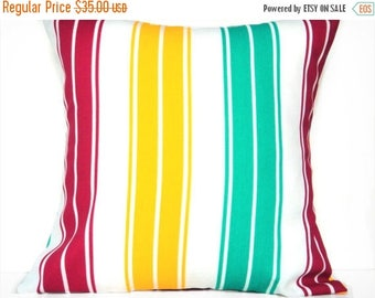 Christmas in July Sale Cabana Stripes Pillow Covers Cushions Coastal Nautical Red Yellow Turquoise White Decorative Pair 18x18