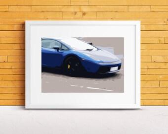 Blue Lamborghini Gallardo Car Art Print, Gift for Dad, Super Car Art, Uncle Gift, Art For Him, Boy Room Decor, Mancave Decor, Supercar Decor