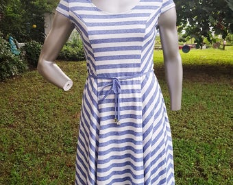 Strappy Striped Vintage Dress in Navy and White by Artex Fashions, Summer Dress, Fit and Flare Dress Size 10