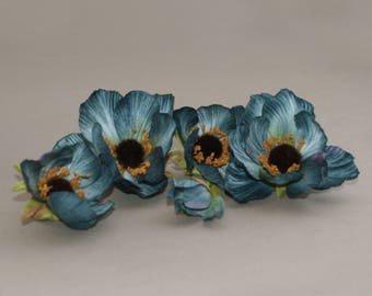 5 Fabulous Teal Blue Cosmos - Bud to Bloom - Artificial Flowers, Silk Flowers