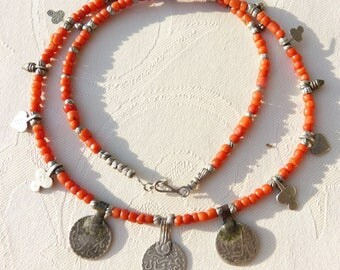 Moroccan Jewelry, Berber coral necklace with silver coin pendants which are 100 to 200 years old