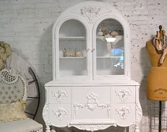 Painted Cottage Chic Shabby White Romantic French China Cabinet CC1005