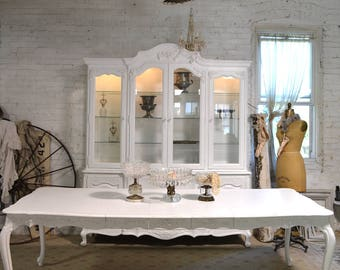 Dining Table Painted Cottage Chic Shabby White French Dining Table  With Three Leaves TBL231