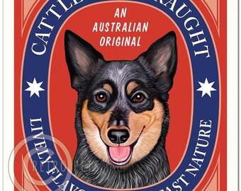 11x14 Australian Cattle Dog Art - Cattle Dog Draught -  Art print by Krista Brooks