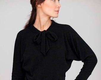 SALE - Autumn sweater | Evening sweater | Black bow sweater | LeMuse autumn sweater