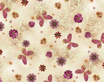 Kanvas by Benartex - Floral Impressions - Pressed Butterfly Floral - Beige w/ Metallic Gold - Fabric by the Yard 8672MB-07