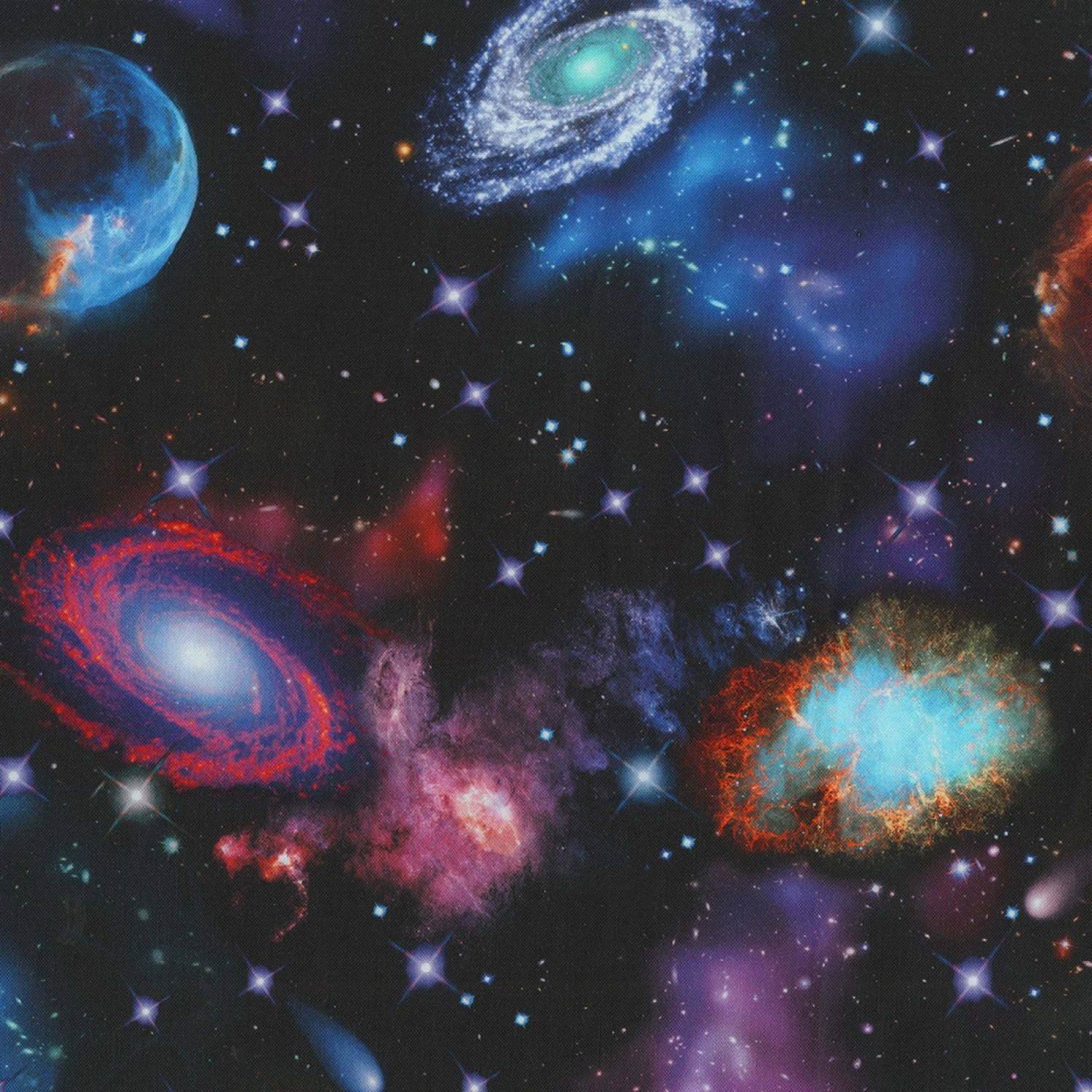 Robert kaufman stargazers nightfall galaxy fabric by for Space themed fabric