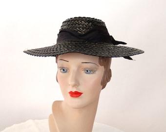 1940s hat raffia straw hat black picture hat summer hat silk moire satin band Size 22