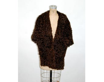 1950s curly lamb stole shawl collar brown Persian lamb fur coat I R Fox