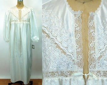 1980s Christian Dior nightgown white satin flannel eyelet lace New with Tag NOS Size M