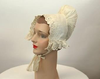 Antique bonnet whitework cap 1800s bonnet 19th century white lace cap eyelet broderie anglais