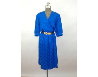 1980s dress royal blue silk checked wrap dress Saks Fifth Avenue Size 6