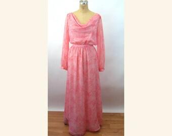 1970s maxi dress sheer chiffon pink white polka dots draped Grecian dress Size M/L