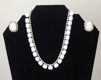 Weiss milk glass bracelet and married necklace and earrings set rhinestone white silver 1950s