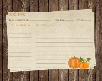 Recipe Cards, Bridal Shower, Pumpkins, Autumn, Fall, Country, Wedding, Housewarming, 24 Printed Cards, FREE Shipping, PKHAR, Pumpkin Harvest