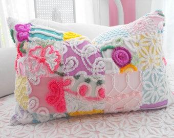 ABSOLUTE PRINCESS Vintage Chenille Patchwork Quilt Style Pillow Sham
