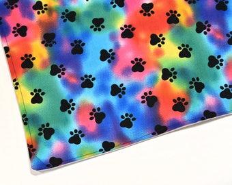 Waterproof Pad Pet Crate Mat Feeding Mat Pet Supplies Dog Cat Kitten Puppy Gift, Black Paw Prints