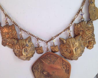 Pididdly Links Cat Necklace Brass
