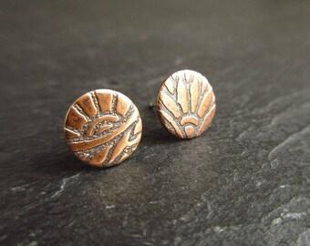 Etched bronze stud earrings, bronze studs, flower pattern studs, oxidized bronze earrings, 8th wedding anniversary, bronze anniversary gift