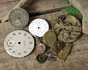 Old Pocket Watch Parts Brass Gears Cogs Metal Faces Supplies - Steampunk clock parts
