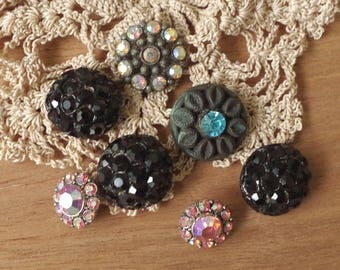 Antique Rhinestone Metal BUTTON lot of Seven Ornate Collectible Buttons crystal AB Black Glass