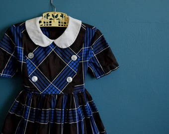 Vintage 1950s 1960s Girl's Navy Blue and Brown Plaid Dress - Size 6-7