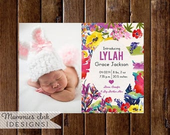20% OFF SALE Watercolor Birth Announcement, Floral Watercolor Announcement, Floral Announcement, Baby Announcement, DIY, Spring Flowers
