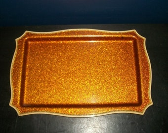 Vintage Celluloid Vanity Tray Copper Glitter Surface