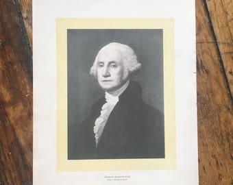 c. 1904 GEORGE WASHINGTON PORTRAIT original antique historic portraiture lithograph - great Americans - president
