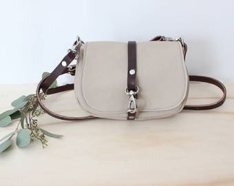 JADE Petite cream leather crossbody bag