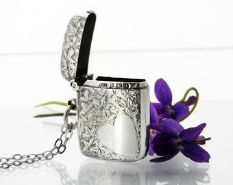 Antique Vesta Case | Sterling Silver Locket | Edwardian Vesta Case, Engraved Ivy Leaves, Heart | 1901 English Hallmarks - 34 Inch Long Chain