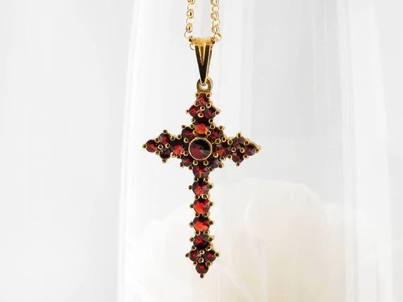 Vintage Garnet Cross Necklace | Bohemian Red Garnet Cross Pendant | Pyrope Garnets | Garnet Gold, Gilded 900 Silver - 20 Inch Chain Included