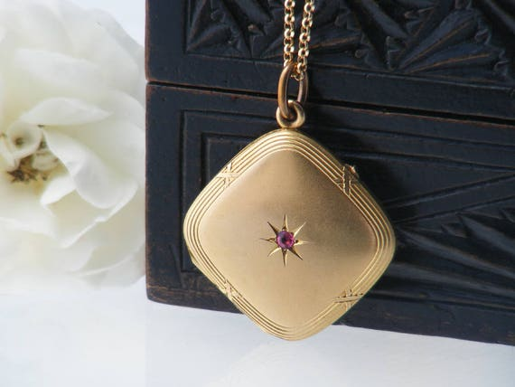 Matte Gold Antique Locket Necklace with Pink Gemstone Star Gold Corner Hung Diamond Shape, Victorian Bloomed Gold Locket - 24 Inch Chain
