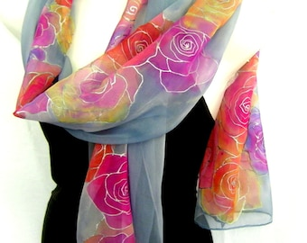 Roses Silk Scarf, Hand Painted Silk Scarf, Roses, Milky Gray Purple Pink Orange Yellow, Floral Silk Chiffon Scarf