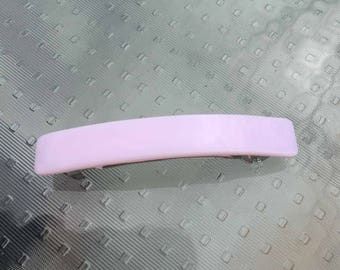 French Barrette Hair Clip, Petal Pink Art Glass