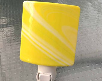 Night Light, Canary Yellow with White Diagonal Stripes, Wall Plugin