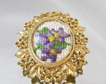 SALE Vintage Brooch Pendant Petit Point Violets Flowers