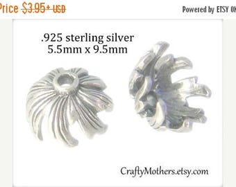 7% off SHOP SALE 2 Bali Sterling Silver Petals Bead Caps, 9.5mm x 5.5mm CHOOSE Bright or Oxidized Sterling, artisan-made supplies