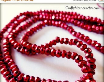 7% off SHOP SALE CHERRY Red Pyrite Faceted Rondelles, 3.4mm, 1/4 strand (3.25 inches), warm red metallic, sparkly - Reg. 6.35