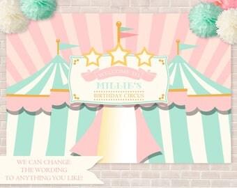 "Pink Circus Backdrop- 48"" x 72"", Birthday Backdrop, Carnival Backdrop, Big Top Backdrop, Circus Tents, School Carnival, Church Carnival"