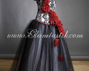Custom Size Damask red rose Burlesque Corset Prom dress Small-XL