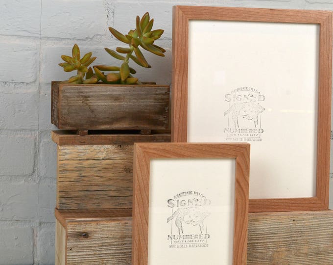 BASIC Picture Frame - Natural CHERRY Solid Hardwood Gallery Wall Frames - Choose Size: 3x3, 3.5x5, 4x4, 4x5, 4x6, 5x5, 5x7, 6x6, 7x7, 4x10