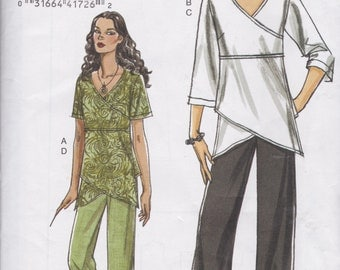 Very Easy Vogue Pattern V8402 Pull Over Mock Wrap Front Tunics with Angled Hem and Pull On Pants with Elastic Casing Waist, Misses' 16 - 22
