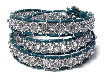 Triple Wrapsody Bracelet - 6.5 to 7 Inch wrist size - silver and turquoise - handmade chainmail triple wrap - leather bracelet