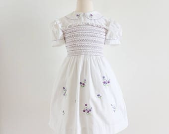 Vintage Girls Size 6 Italian Smocked Garden Party Dress VGC / b26-28 L25.5-27.5 / White Cotton Purple Pansy Embroidery Hand Rolled Stitched