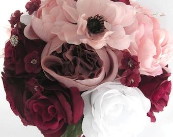 "Reserved listing 22 Piece Package Wedding Bouquets Bridal Bouquet Wedding Silk flower BURGUNDY WINE PINK Blush Ivory ""RosesandDreams"""