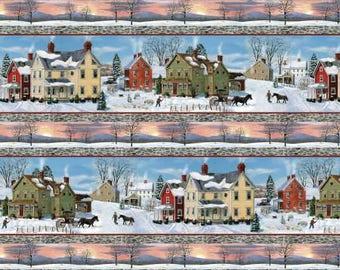 AFTER THE SNOW Fabric Stripe Houses Fabric 72252-487 Bob Fair